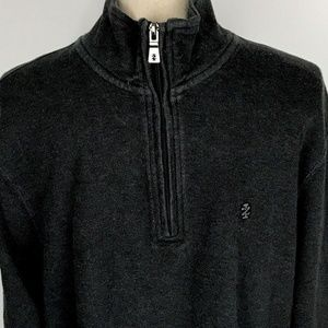 IZOD Mens Large Zip Pullover Smooth Knit Sweater